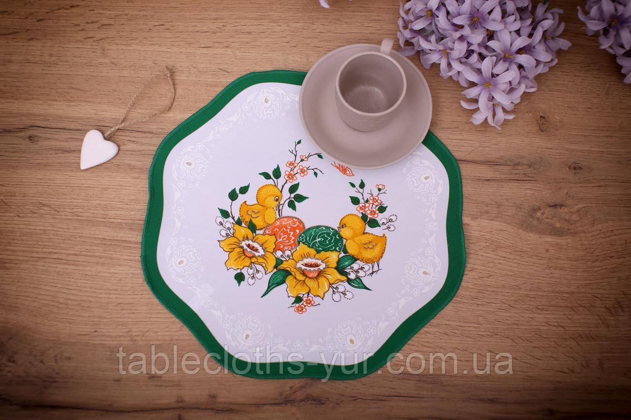 Салфетка Великодня 28 діаметр «Пташки» Зелений візерунок Біла