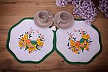 Салфетка Великодня 28 діаметр «Пташки» Зелений візерунок Біла, фото 2