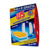 W5 Таблетки для Посудомоечной машины All-in-1 40+8 шт