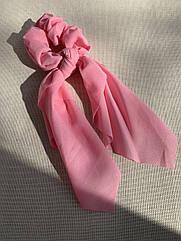 Резинка для волосся з стрічкою, резинка твіллі, стрічка на волосся рожева, твилли яркая розовая резинка