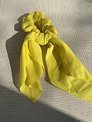Жіноча резинка зі стрічкою твіллі жовта, твилли желтая с лентами резинка