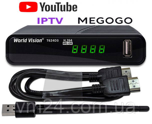 +WiFi  2db Цифровой TV-тюнер DVB Т2\C тюнер World Vision T62D3-32 канала  AC3 IPTV ,YouTube ,Megogo+кабельHDMI