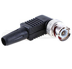Разъем штекер BNC угловой под кабель с пластиковым кожухом, (под винт)
