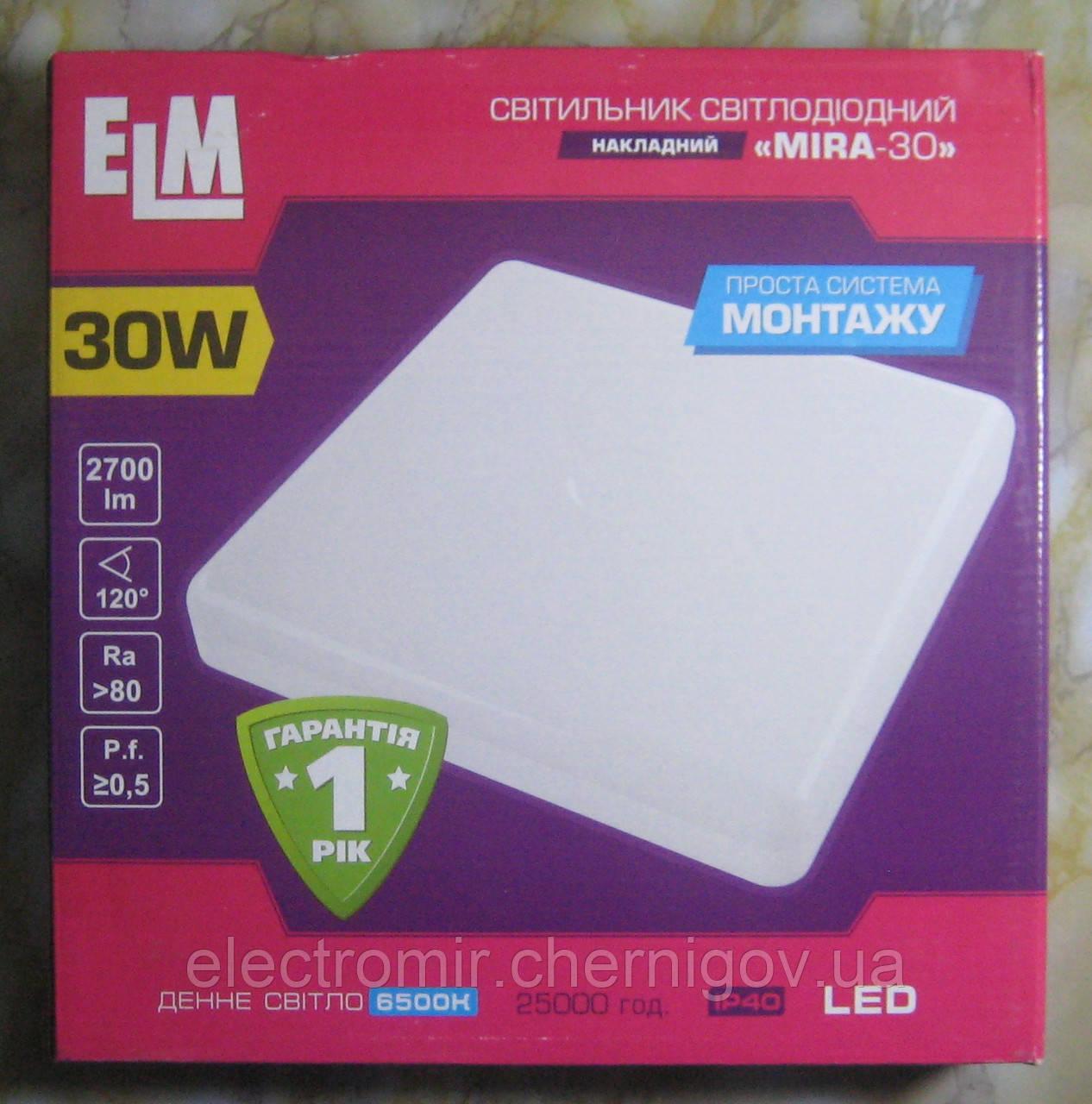 Светильник накладной светодиодный квадратный ELM MIRA-30