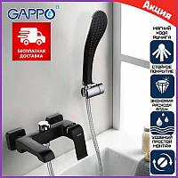 Черный смеситель для ванны с душем Gappo Aventador G3250 с изливом, Смеситель чёрный для ванны