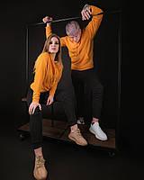 Толстовки худи весенние парные кофты регланы женские и мужские оранжевый