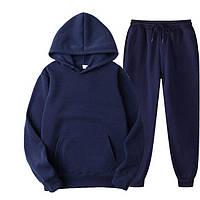 Спортивные костюмы мужские женские весенние оверсайз парные кофты и штаны темно синий