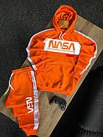 Мужской спортивный костюм весенний осенний худи и штаны Nasa оранжевый