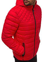 Куртка мужская весенняя осенняя ветровка с капюшоном демисезонная красная