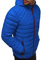 Куртка мужская весенняя осенняя ветровка с капюшоном демисезонная синяя