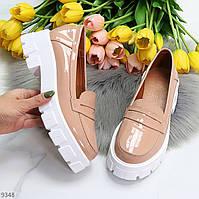 Рожеві жіночі лакові туфлі Натуральна шкіра на товстій підошві