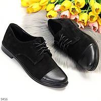 Практичні люксові класичні жіночі туфлі низький хід натуральна замша