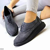 Трендові замшеві сірі жіночі туфлі крипперы з натуральної замші