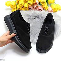 Трендові замшеві чорні жіночі туфлі крипперы з натуральної замші
