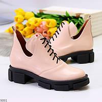 Рожеві жіночі модельні черевики натуральна шкіра в актуальному дизайні