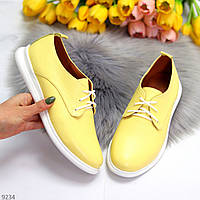 Яскраві жовті жіночі туфлі шнурівка на весну натуральна шкіра флотар