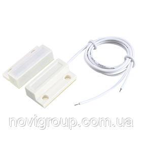 Магнітоконтактний Датчик з дротом 30 см MC-38, 27 * 14 * 10 мм, пластик, білий, під шуруп, липучка, 20 штук