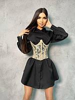 Комплект: платье-рубашка с кружевным корсетом на шнуровке, разные цвета, фото 1