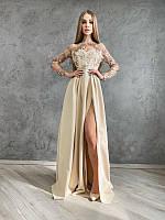 Платье макси с блестящим верхом и разрезом на юбке, разные цвета, фото 1