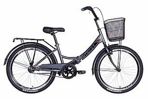 """Велосипед 24"""" Formula SMART з кошиком 2021 (сіро-чорний)"""