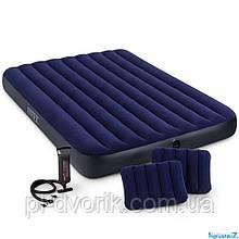 """Надувной матрас 64765 (3) """"Квин"""" двухместный, 152х203х25см, 2 подушки, с ручным насосом, в коробке"""