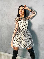 Платье мини в горох с пышной юбкой, разные цвета, фото 1