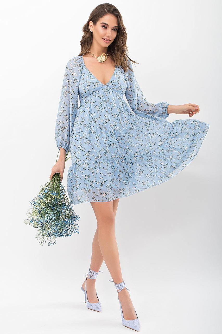 Платье из шифона в цветочный принт Хельга д/р