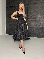 Элегантное платье-бюстье с пышной юбкой в длине миди, разные цвета, фото 1