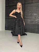 Элегантное платье-бюстье с пышной юбкой в длине миди, разные цвета