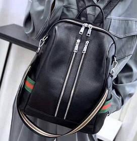 Женский кожаный рюкзак черный. Женский рюкзак на каждый день