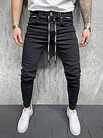 Джинсы узкие мужские со шнурками черные 2Y