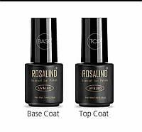 Набор Каучуковый База и Топ Rosalind (7мл.) Финишное,  топовое покрытие для гель лаков Rubber Coat Base + Top