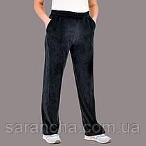 Велюровые женские прямые черные штаны размер 50,52,54,56