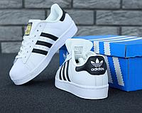 Женские кроссовки Adidas Superstar / Кеды Адидас Суперстар белые кожаные повседневные