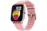 Смарт-часы Colmi P8 SE с Bluetooth, пульсометром, тонометром, шагомером (розовые))