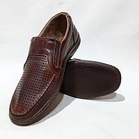 Мужские кожаные туфли летние, прошитые BASTION (Бастион) перфорация коричневые