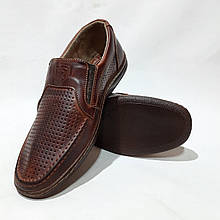Чоловічі шкіряні туфлі літні, прошиті BASTION (Бастіон) перфорація коричневі
