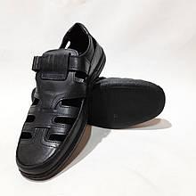 Чоловічі шкіряні туфлі літні, прошиті BASTION (Бастіон) на липучці чорні