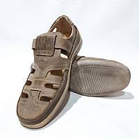 Мужские кожаные туфли летние, прошитые BASTION (Бастион) на липучке беж