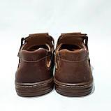 Мужские кожаные туфли летние, прошитые BASTION (Бастион) на липучке коричневые, фото 7