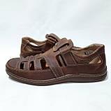 Мужские кожаные туфли летние, прошитые BASTION (Бастион) на липучке коричневые, фото 5