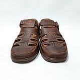 Мужские кожаные туфли летние, прошитые BASTION (Бастион) на липучке коричневые, фото 4