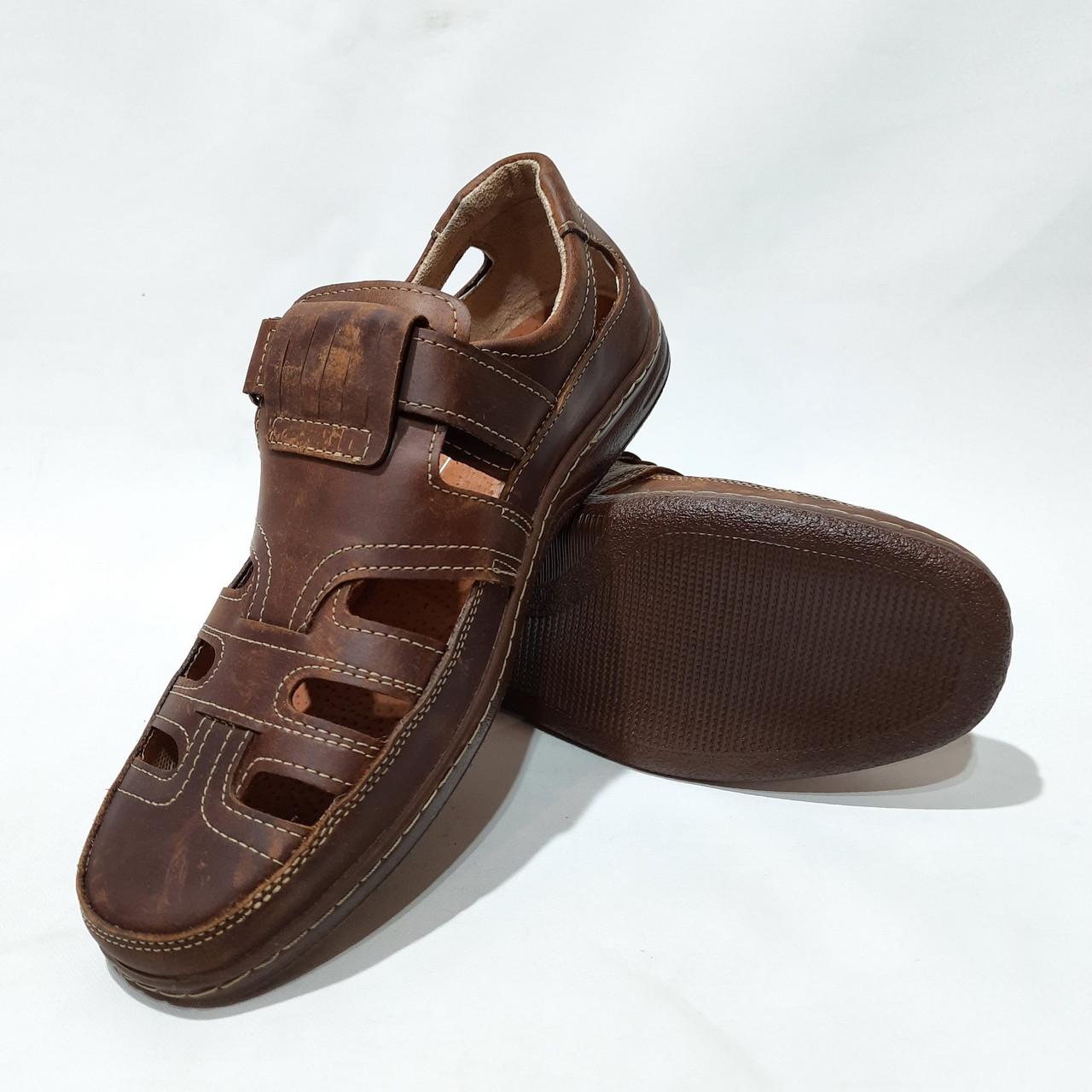 Мужские кожаные туфли летние, прошитые BASTION (Бастион) на липучке коричневые