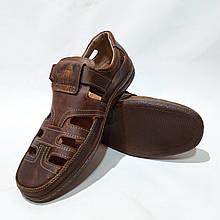 Чоловічі шкіряні туфлі літні, прошиті BASTION (Бастіон) на липучці коричневі