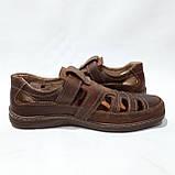 Мужские кожаные туфли летние, прошитые BASTION (Бастион) на липучке коричневые, фото 6