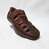 Мужские кожаные туфли летние, прошитые BASTION (Бастион) на липучке коричневые, фото 2
