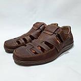 Мужские кожаные туфли летние, прошитые BASTION (Бастион) на липучке коричневые, фото 3