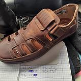 Мужские кожаные туфли летние, прошитые BASTION (Бастион) на липучке коричневые, фото 9