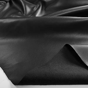 Ткань искусственная кожа на замше (экокожа) черная