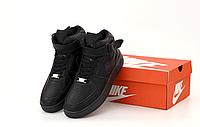 Кроссовки Nike Air Force высокие 1 High мужские / Найк Аир Форс 1 07 черные кожаные